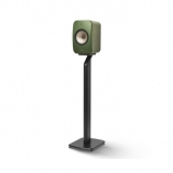 Kef LSX Wireless Music Speakers in Olive with S1 Floorstands in Black