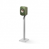 Kef LSX Wireless Music Speakers in Olive with S1 Floorstands in White