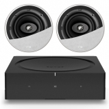 Sonos Wireless Amplifier with 2 x KEF Ci200CR High Quality Ceiling Speakers