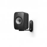 Kef LSX Wireless Music Speakers in Black with B1 Wall Bracket in Black