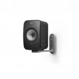 Kef LSX Wireless Music Speakers in Black with B1 Wall Bracket in White