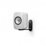 Kef LSX Wireless Music Speakers in White with B1 Wall Bracket in Black