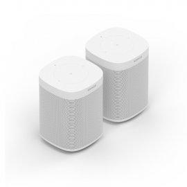 Sonos 2 x One Gen 2 Wireless Speakers in White with Amazon Alexa front