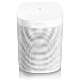 Sonos 2 x One Gen 2 Wireless Speakers in White with Amazon Alexa angle